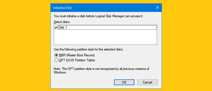 Initialize disk là gì