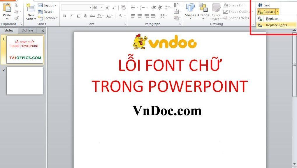 Cách sửa lỗi phông chữ trong powerpoint