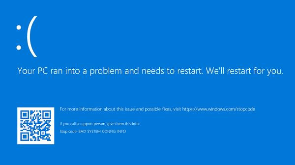 Sửa lỗi your pc ran into a problem and needs to restart