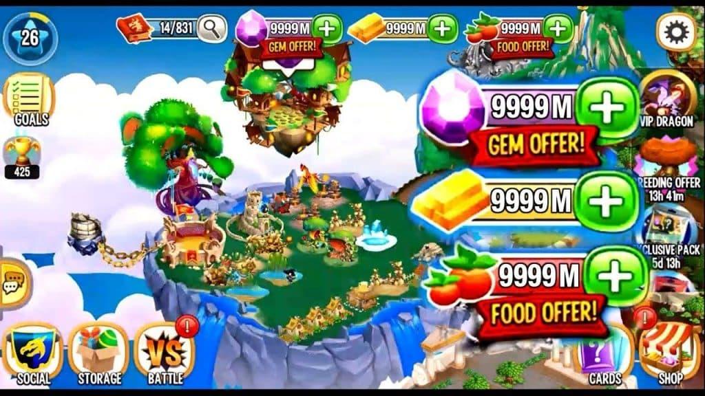 Dragon city apk mod hack full tiền, gems 11