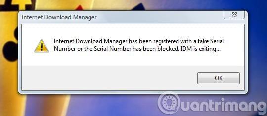 Sửa lỗi idm báo fake serial number